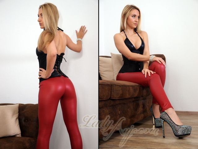 Red Wetlook Leggings